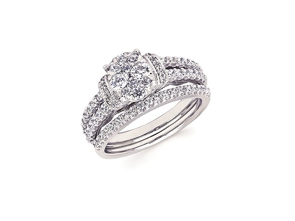 White 14 Karat  Diamond ENGAGEMENT RING. Size 6.5 With 48=0.83Tw Round G/H Si2 Diamonds.  BAND SOLD SEPARATE. by Ostbye