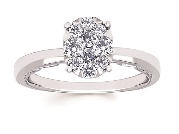 White 14 Karat Engagement Ring Size 6.5 With 10=0.52Tw Round G/H Si2 Diamonds. by Ostbye