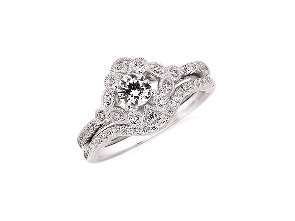 Celebration  -  One White 14 Karat Semi-Mount Ring Size 6.5 With 22=0.18tw Round V  I1 Diamonds by Ostbye