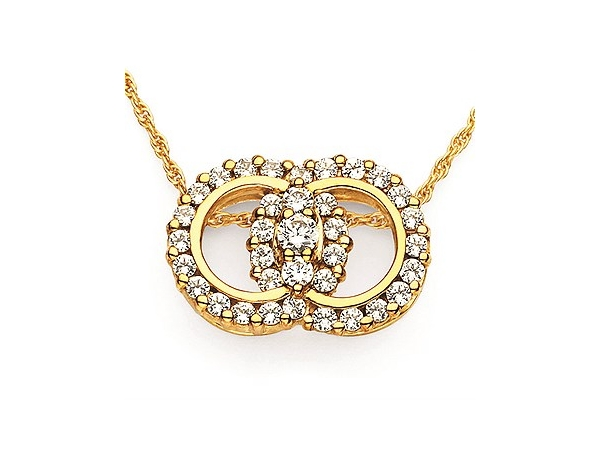Ladies 14K Yellow Gold Diamond Marriage Symbol Pendant with One= 0.12ct, 2=0.24cttw and 32=0.80cttw Round Cut Diamonds H/I SI2 o by Ostbye