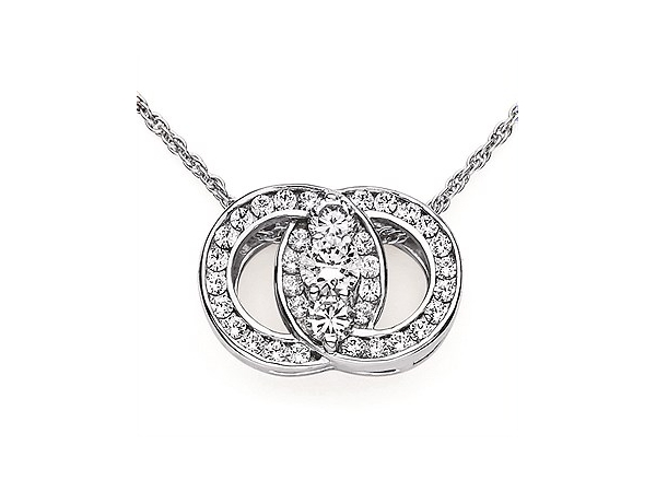 "Ladies 14K White Gold Diamond Marriage Symbol Pendant w/ 40=0.20cttw, One 0.03ct and 2=0.03cttw Round Cut Diamonds SI1 on 18"" Fi by Ostbye"