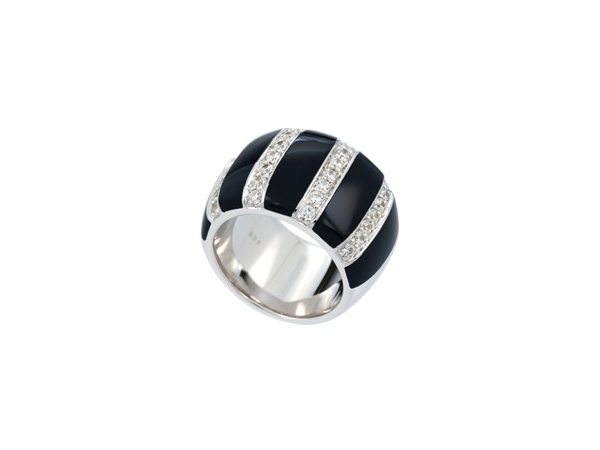 "Rhodium Sterling Silver  ""Regal Stripes""  Ring size 7, with Black Onyx and CZ"