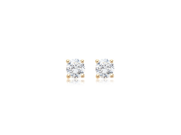 Yellow 14 Karat 6.5mm (2ctw) Cubic zirconias Stud Earrings by Carla Corporation