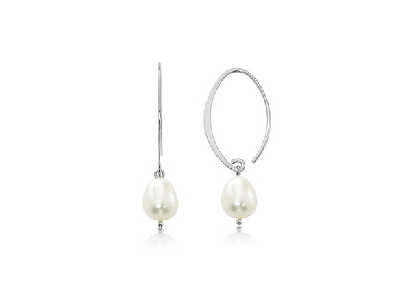 Rhodium Sterling Silver Simple Sweep Drop Earrings with Cultured Freshwater Pearls by Carla Corporation