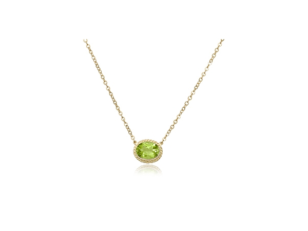 "Yellow 14 Karat 8X6mm Oval Peridot Pendant Length 19"" adjustable by Carla Corporation"