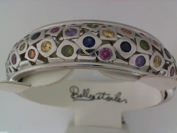 "Rhodium Sterling Silver ""Byzantine"" Bracelet, w/Multi Colored CZ"