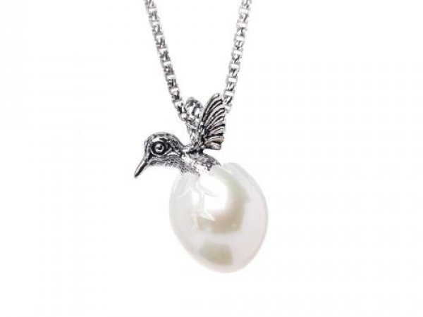 "Hand Carved 10.5mm Freshwater Pearl Egg w/ Sterling Silver Humming Bird, Rhodium Sterling Silver Round Box Chain 18"" by Galatea"