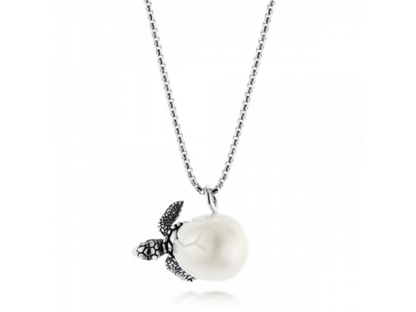 "Hand Carved 10.5mm Freshwater Pearl Egg w/  Sea Turtle. Rhodium Sterling Silver Round Box Chain 18"" by Galatea"