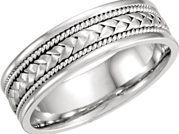 14K White 6.75mm Comfort-Fit Woven Band  size 8.5 by Stuller