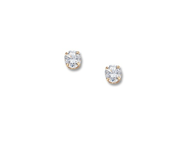 Yellow 14 Karat .60tw  Cubic Zirconia Stud Earrings, 4 prongs. by Carla Corporation