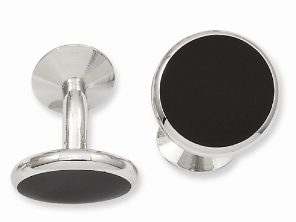 Rhodium Cufflinks, Black Epoxy, polished by Leslie