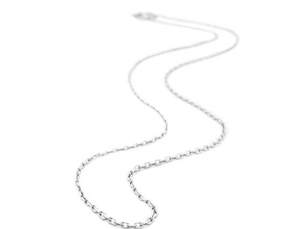 Rhodium Sterling Silver D/C Cable, Chain Length 20, Spring Ring Clasp by Belle Etoile