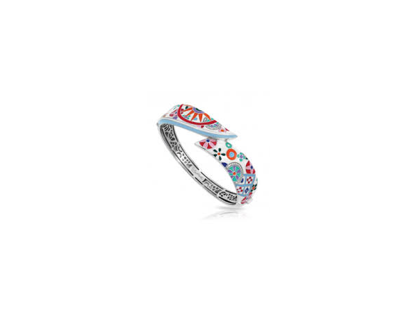 "Rhodium Sterling Silver ""Pashmina""  Bracelet, w/ multi colored enamel & CZ"