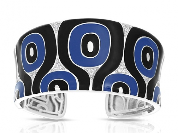 "Rhodium Sterling Silver ""Moda"" Bracelet w/ Blue & black Enamel and Clear CZ,s, Hinged cuff, 33mm wide, Size Medium, by Belle Etoile"