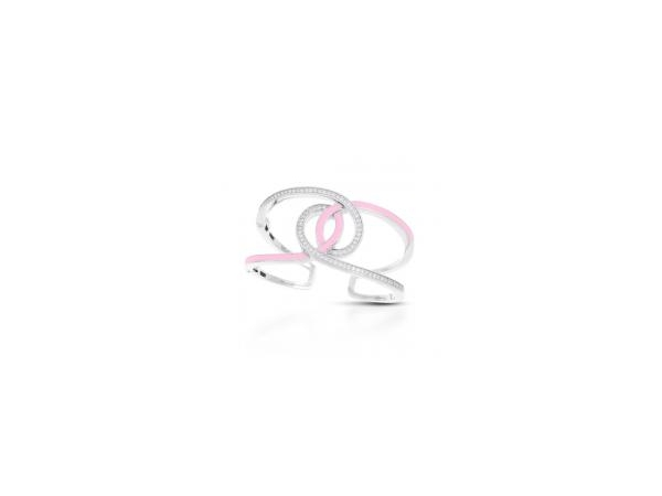 "Rhodium Sterling Silver Cuff Bracelet, ""Evermore"", w/ Hand Painted Pink Enamel and CZ"