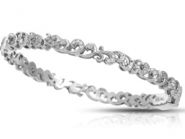 "Rhodium  Sterling Silver ""Marie""  Bangle Bracelet with White Pave CZ"