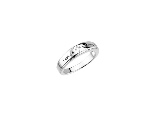 "Sterling Silver Salvation  Ring, engraved "" I Asked Jesus Into My Life"".   size  7 by Stuller"