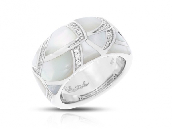 "Rhodium Sterling Silver ""Sirena"" Ring w/Mother or Pearl & Clear CZ"