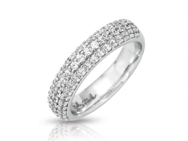 "Rhodium Sterling Silver ""Pave"" Ring w/ CZ"