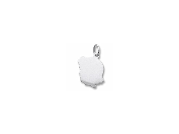 Rhodium Sterling Silver Girl Silhouette Charm  16.7mm x 14.2mm    engravable. by Rembrandt Charms
