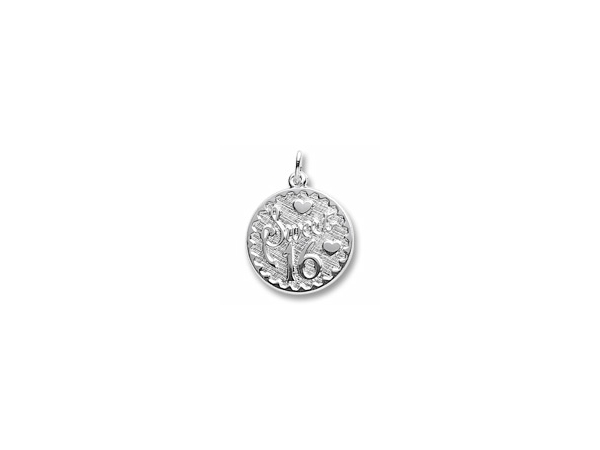 "Rhodium Sterling Silver ""Sweet 16"" Sixteen Disc Charm/pendant, 19.6mm, Engravable. by Rembrandt Charms"