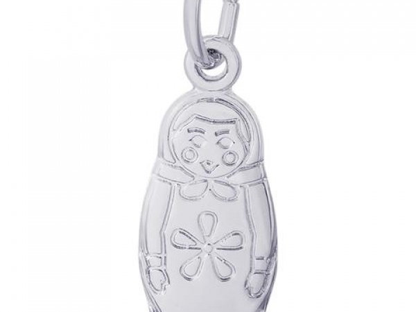 Rhodium Sterling Silver Matryoshka Doll  (Babushka, Grandmother) Charm/pendant, Embossed details,  Polished, 17.8mm x 7.1mm. by Rembrandt Charms