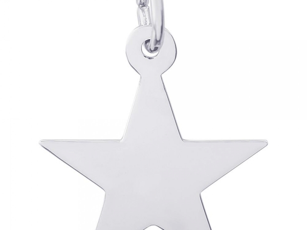 Rhodium Sterling Silver Star Charm/pendant, polished, engravable, 15.2mm x 15.7mm by Rembrandt Charms