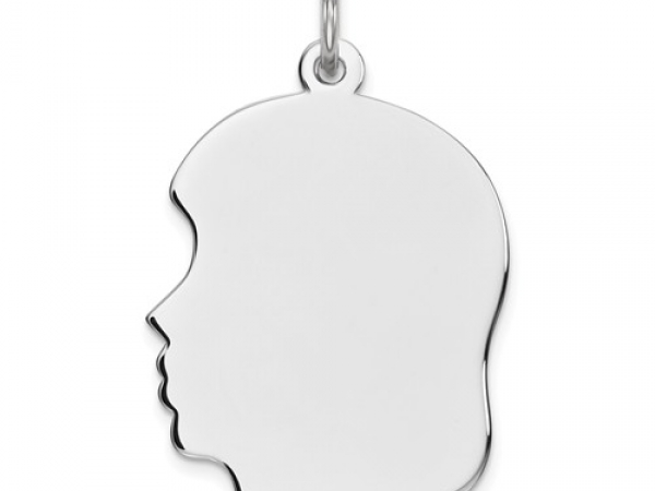 Sterling Silver Girl Silhouette Head Charm Length 23mm by Leslie