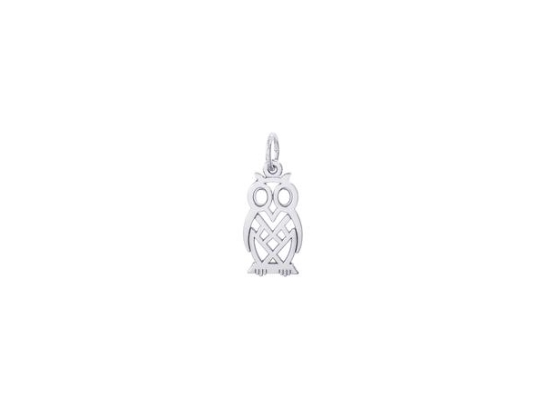 "Rhodium Sterling Silver  Flat Owl,  Openwork, Polished,  0.73"" x 0.45"" by Rembrandt Charms"