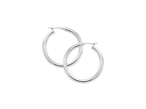 Rhodium Sterling Silver Polished 3X30mm Tube Hoop Earrings . S/D post, by Carla Corporation