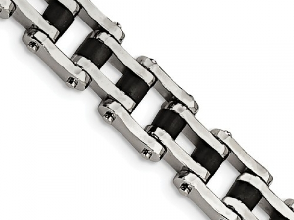 "Stainless steel Bracelet w/ 17mm Black Rubber Links Length  8.5"" Foldover Clasp by Leslie"